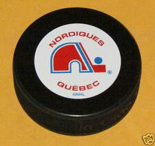QUEBEC NORDIQUES Team Logo w/Name Vintage Series SOUVENIR PUCK NEW In Glas Co.
