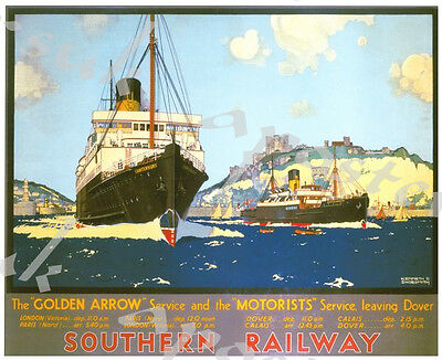 Vintage Old Transport Poster Dover to Ostend Ferry Print Art A4 A3 A2 A1