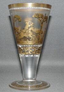 Fritz-Heckert-Historismus-Glas-satiniert-Goldbemalung-Signiert-Jagdszene-15-2-cm