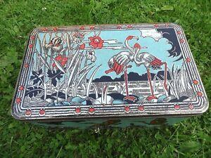 Ancienne Boîte Tôle Fer Style Art Déco Flamant Rose Ibis Oiseaux Roseaux An. 50 1icq98zf-10131443-886704811