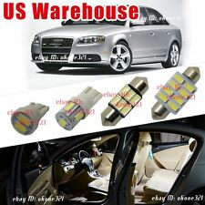 6-pc Luxury White  LED Light Interior Package Lamp Kit For Audi A4 S4 B6 B7