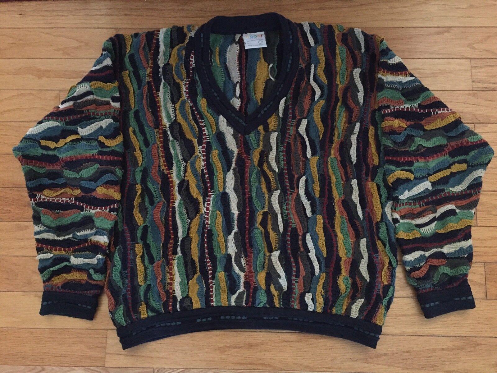 COOGI Australia Cable Knit  Herren Sweater Größe XL Cosby Biggie Smalls Vintage 90s