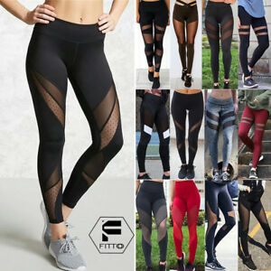 Women-039-s-High-Waist-Yoga-Pants-Capri-Mesh-Sports-Fitness-Jogging-Leggings-Gym-G10