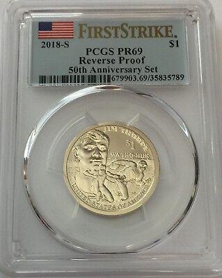 2018-S Sacagawea Dollar Reverse Proof PR69 PCGS First Strike Flag Label