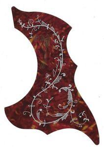 Stylisée Oiseau Et Fleur Pickguard For Steel String Guitare Acoustique (synthétique Délictuelle)-afficher Le Titre D'origine Saveur Pure Et Douce