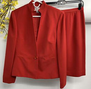 Jones-New-York-Women-039-s-Career-Red-Polyester-2-Piece-Skirt-Suit-Size-8-EUC