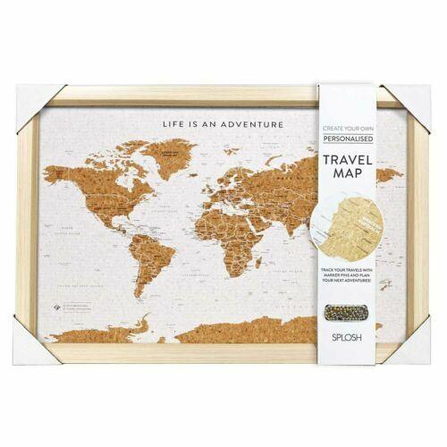 Splosh Personalised Travel Map Cork Framed Board w/Pins WORLD 53.5x36.5cm TVB03
