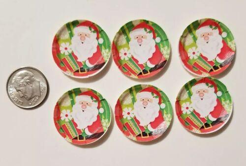 """6 Miniature dollhouse Christmas Paper plates  Barbie 1//12 /"""" 1/"""" Frozen Elsa Anna"""