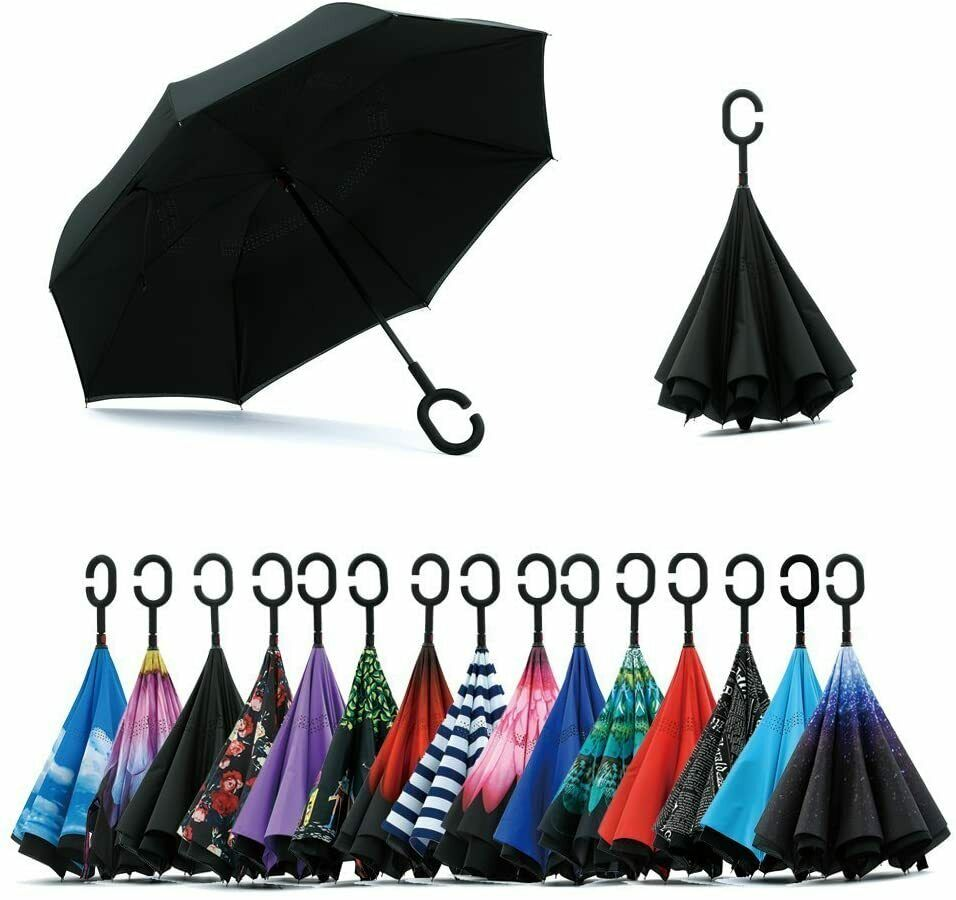 Double Layer Inverted Umbrella - with C-shaped handle - XL