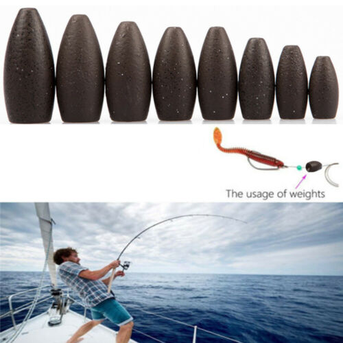 Tungsten Worm Flippings Weights Black Bullet Bass Fishing Sinker Tackle
