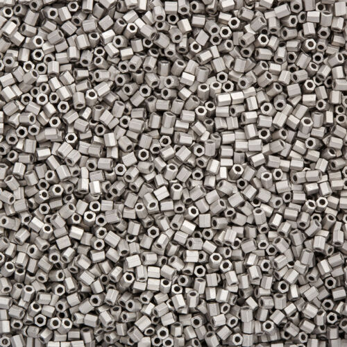 Miyuki Hex Cut 2 mm perles de rocaille 11//0 Matte palladium plaqué 12 g Q14//6