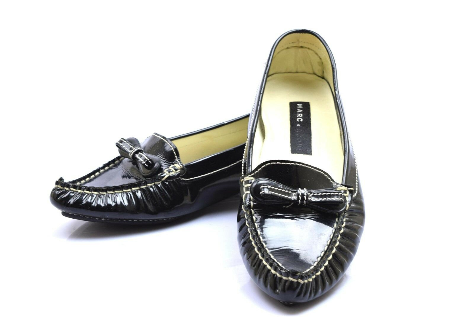 Marc Jacobs Black Patent Leather White Stitching Flats Pointed Toe 7.5 M