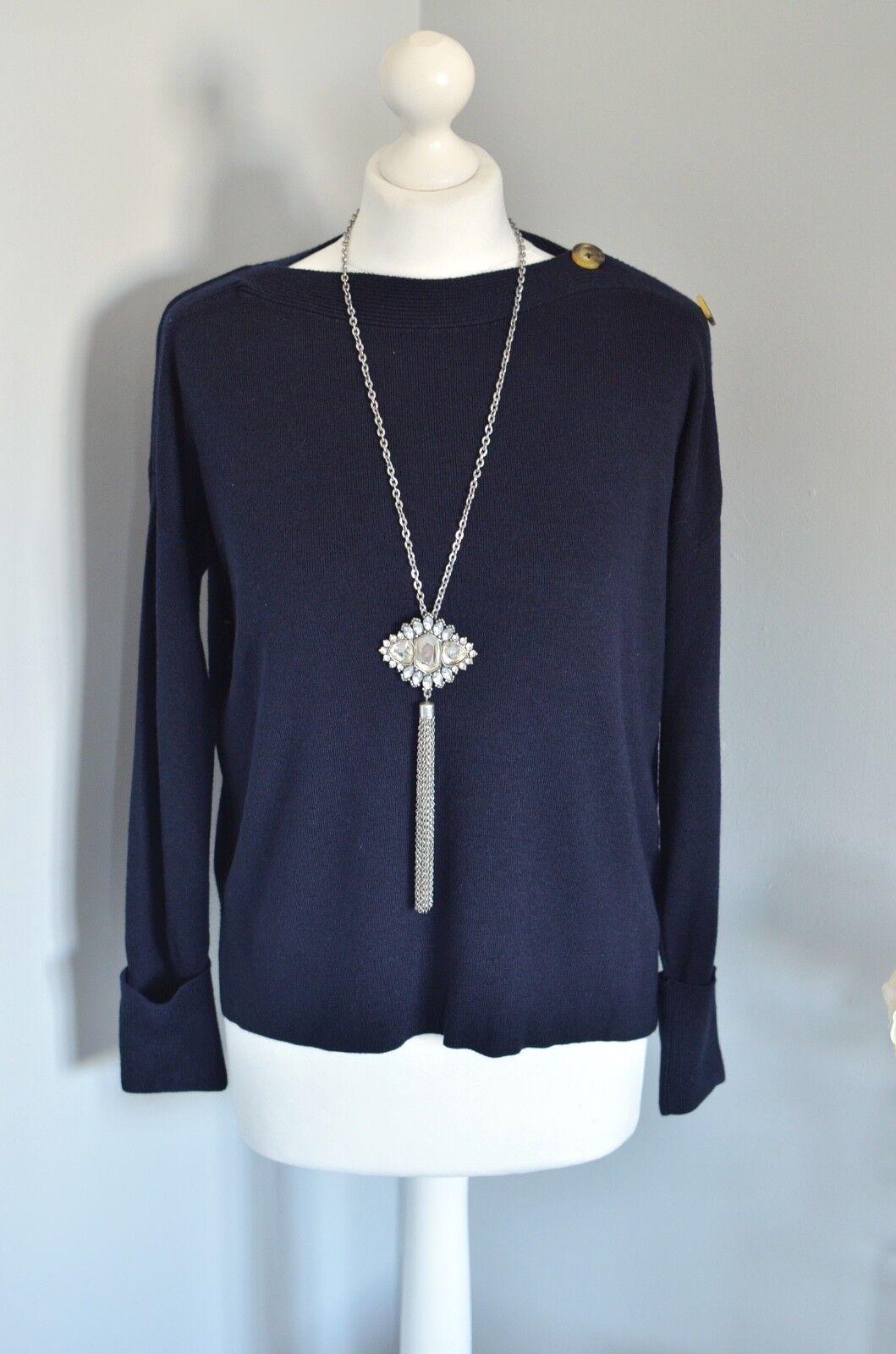 Winter 2017 WHISTLES Navy bluee wool silk blend jumper, XS, Loose