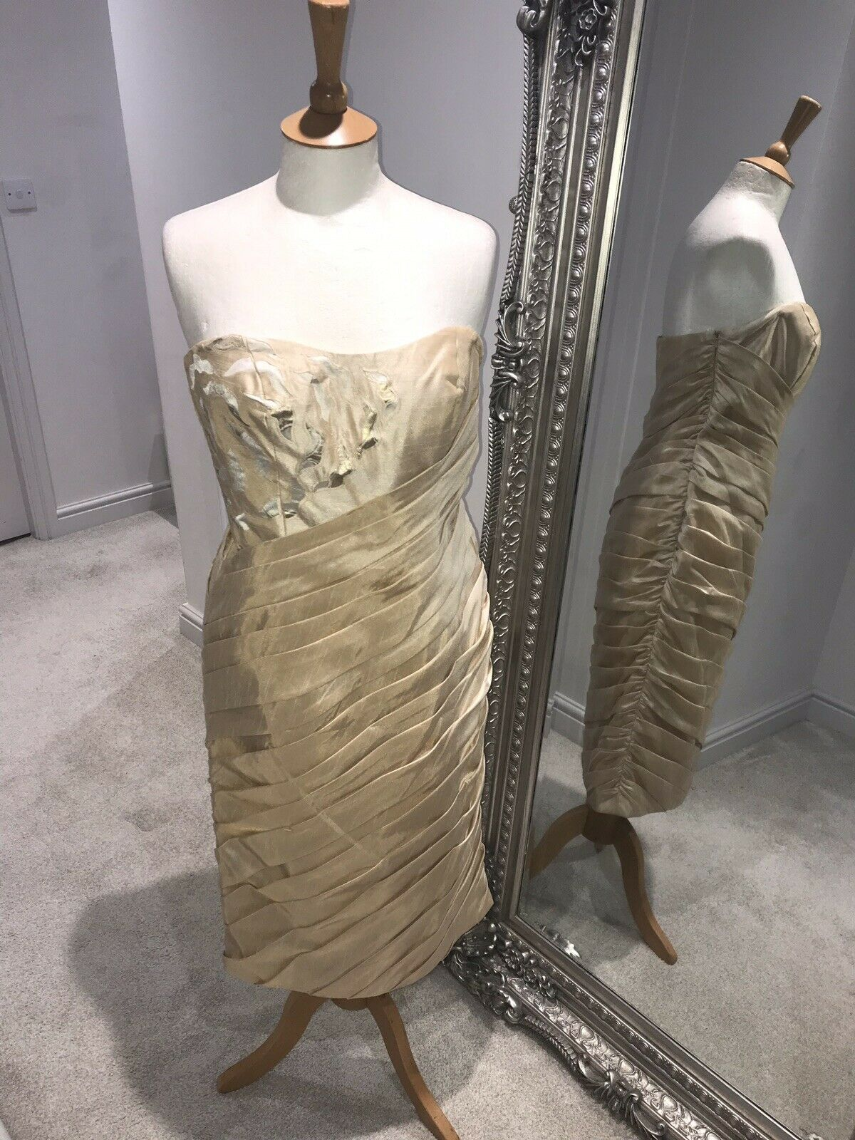 Gold Mother Of The Bride / Special Occasion Size 10 Dress RRP