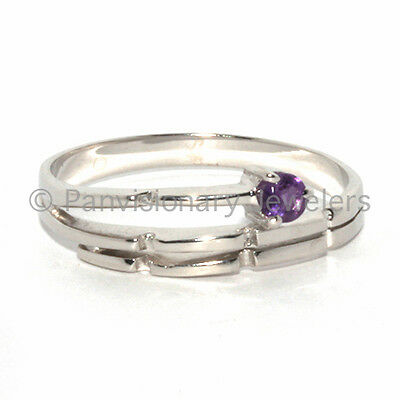 Amethyst Silver Ring 925 Stackable Wrap look 3mm Natural February Birthstone