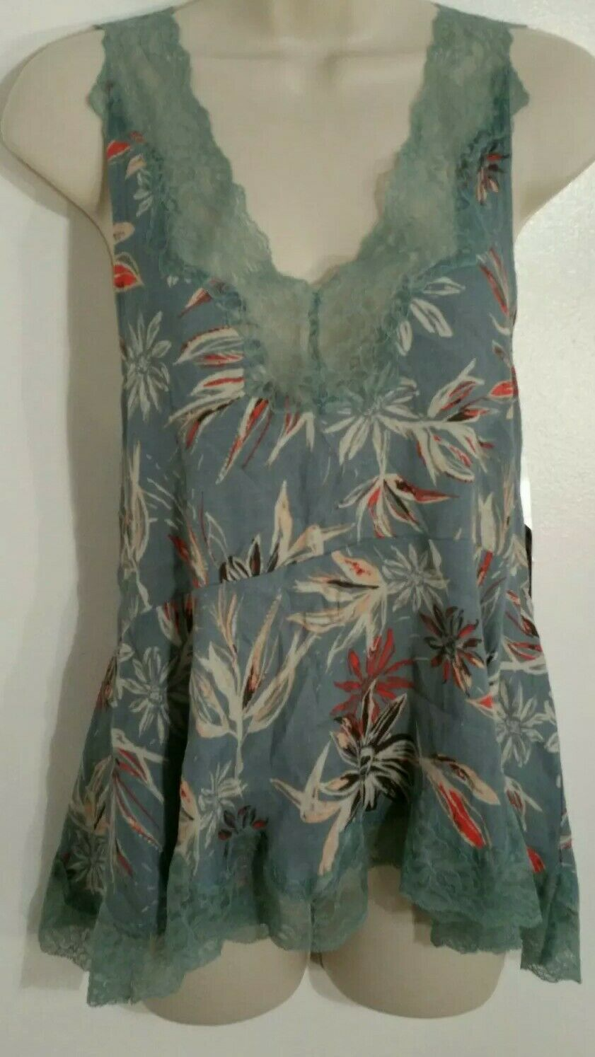 NWT Free People Intimately Gorgeous Aqua Lace Floral Babydoll Sexy Top XS  A3