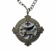 Knights Templar Lion Pendant With Chain, Masonic Talisman Nickel Free Chain