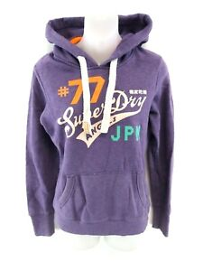SUPERDRY-Womens-Hoodie-Jumper-XS-Purple-Cotton-amp-Polyester