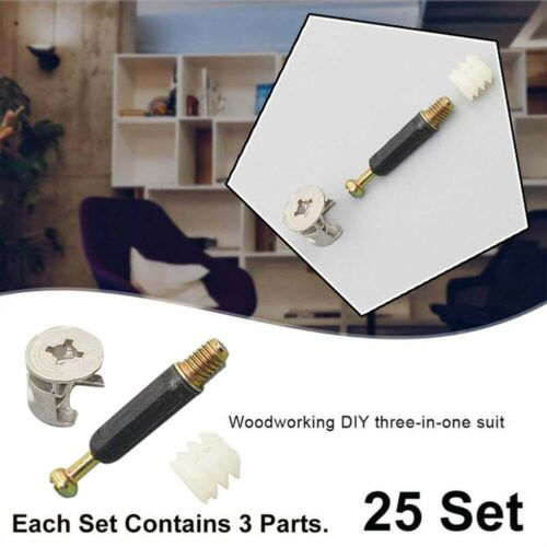 25 Sets 3in1 Fixings Flat Pack Furniture Cam Locks Bolts For Wood Dowels Drawers