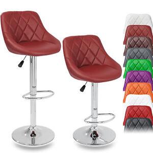 TRESKO-2-x-Bar-Stools-Faux-Leather-Swivel-Kitchen-Lounge-Breakfast-Stool-Chair
