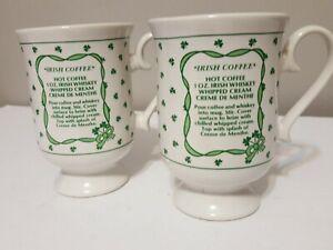 Vintage-Irish-Coffee-Set-of-2-Mugs-White-Green-Shamrock-Whiskey-Recipe-Glasses