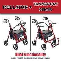 Duet Transport Chair And Rollator All In One Medical Walker Wheelchair