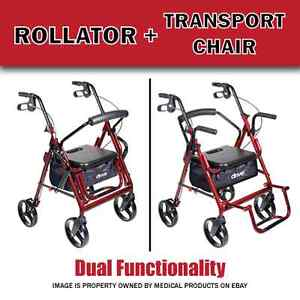 New Duet Transport Chair And Rollator All In One Medical