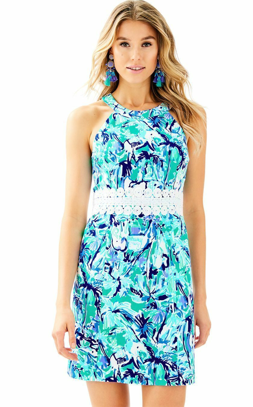 Lilly Pulitzer Ashlyn Shift Dress, Elephant Appeal, Tropical Turquoise, 10, NWT