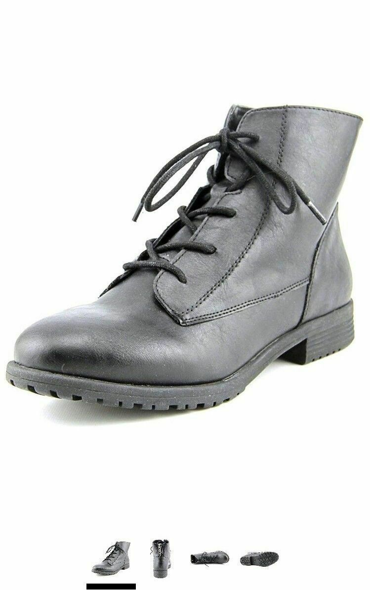 Style  Co. Womens Qwinn Leather Leather Leather Round Toe Ankle Combat Boots, Black, Size 8.0 6cd037