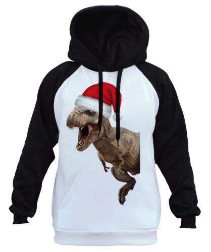 dinosaurio Santa White vacaciones divertido B13 Navidad Raglan T Hombres Hoodie rex Hat tUvBYWxw