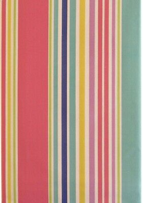 52 x 70 Oblong Summer Fun Sailboat Stripes Vinyl Flannel Back Tablecloth