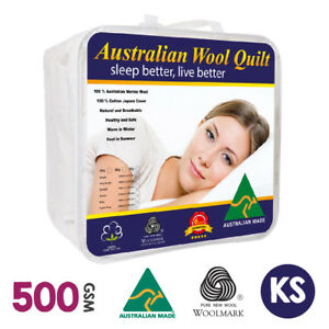 King Single Size Australian Made Luxury Merino Quilt/duvet 500gsm Winter Weight Bedding Quilts, Bedspreads & Coverlets