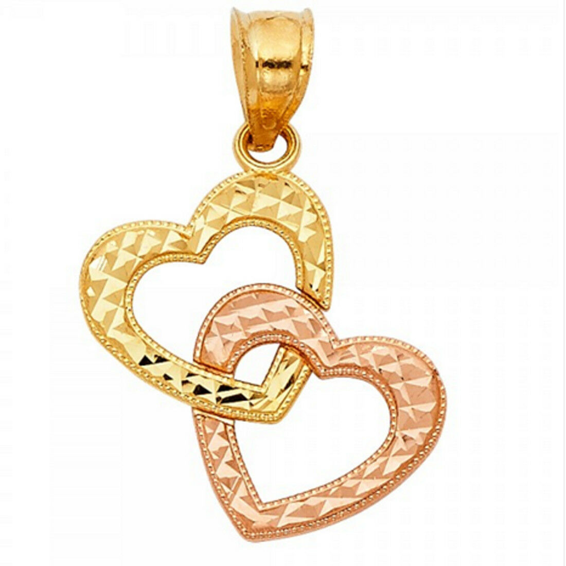 New Double Heart Charm Diamond Cut 14k Solid Two Tone Yellow & pink gold Pendant