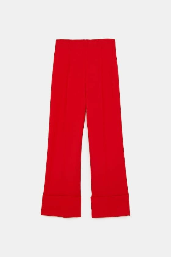 Zara damen Wide Leg Pants With Turn Up Hems rot Größe M NWT