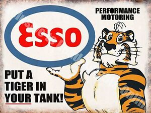 Vintage-Garage-Esso-Petrol-Tiger-Motor-Oil-Old-40-Advert-Large-Metal-Tin-Sign