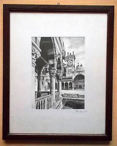 """GIUSEPPE MARIO D'AMICO Serigrafia su seta da china  """"Torre dell'orologio"""" Udine"""