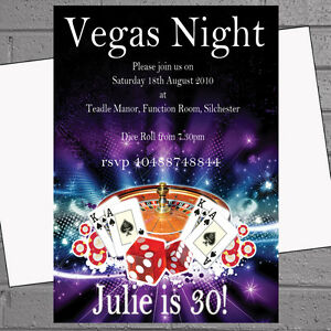 Details About Personalised Casino Vegas Night Themed Birthday Party Invitations X12 Env H0428
