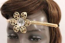 Women Girls Big Gold Metal Flower Elastic Head Band Chain Fashion Hair Jewelry