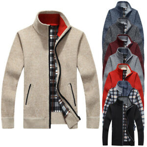 Mens-Winter-Warm-Sweater-Knit-Cardigan-Jumper-Zip-Up-Fleece-Lined-Coat-Jacket