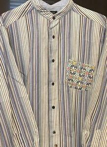Claiborne-Shirt-Banded-Collar-Vintage-Men-039-s-Size-XL-Rare