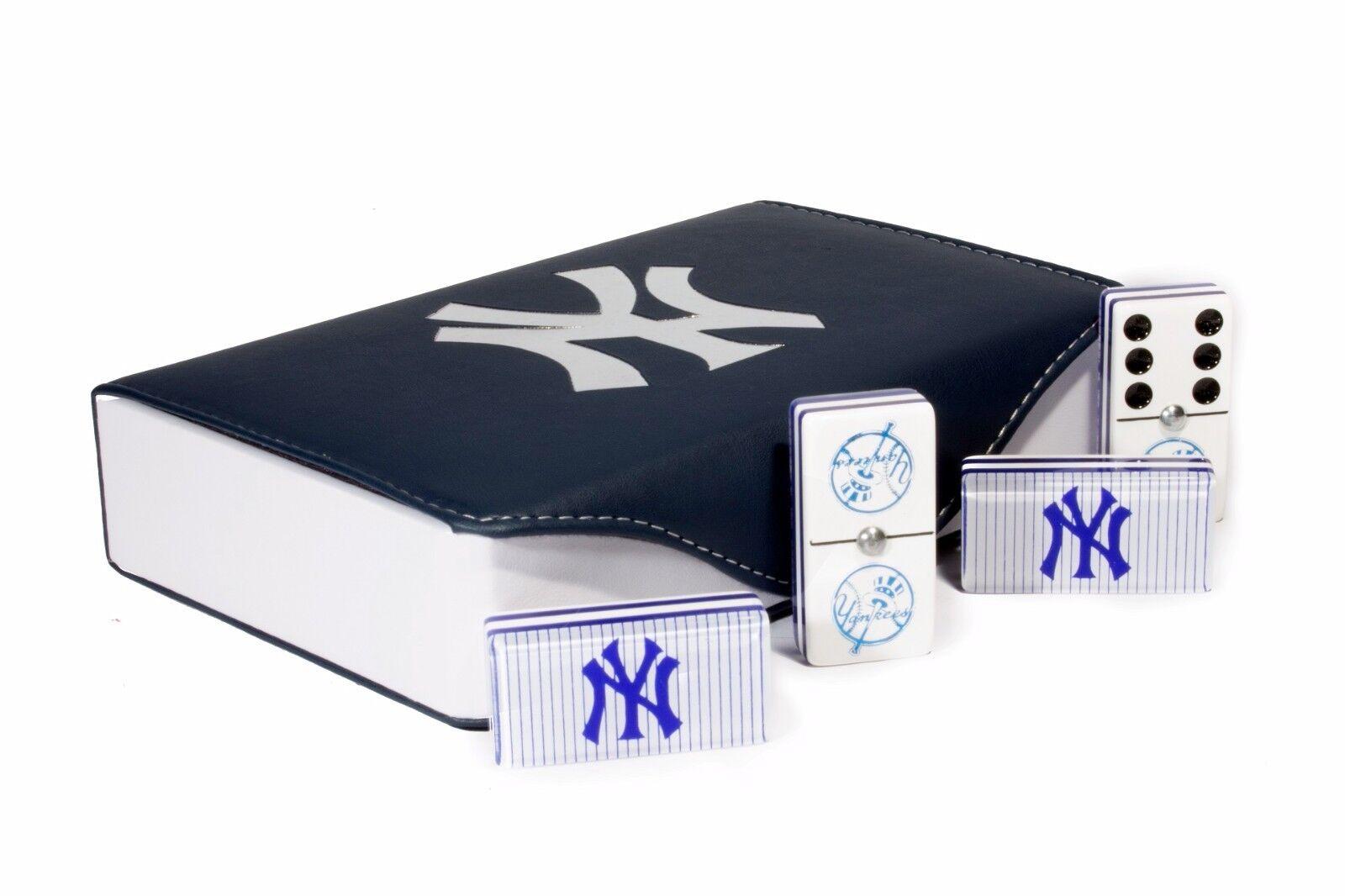 nuovo  York Yankees Jumbo Domino doppio Six, 5 Coats 100% Acrylic. Engraved Case  alla moda