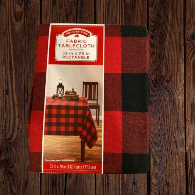 Farmhouse Fall Vinyl Tablecloth Buffalo Plaid Pumpkins Leaves Country Rustic New