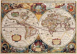 Large framed print double hemisphere world map vintage style image is loading large framed print double hemisphere world map vintage gumiabroncs Choice Image