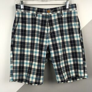 Tommy-Hilfiger-Mens-Size-29-Cotton-Plaid-Shorts-Classic-Fit-Teal-Blue