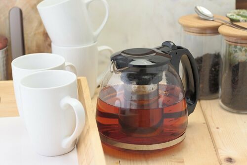 GLASS TEAPOT WITH INFUSION INFUSER LEAF HERB GREEN TEA POT COFFEE MAKING