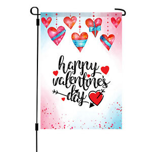 Valentine/'s Day Garden Flag Heart Decor Outdoor Flag Fabric Double-sided