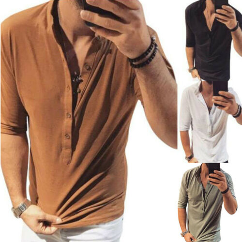 Summer Mens Half Sleeve Shirts V Neck Buttons Casual T-shirt Tee Tops Blouse New