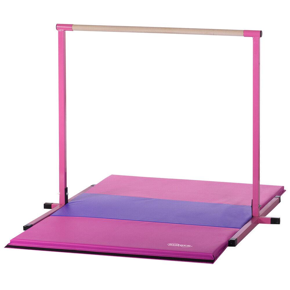 Pink Non Adjustable Horizontal Kip Bar with Pink and Purple Folding Mat Combo