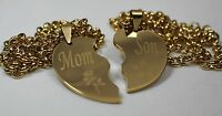 Split Heart Necklace Solid Stainless Mom Son Ipg Gold Plated Thick Pendants