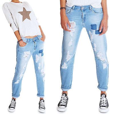 Boyfriend Destroyed Loose Fit Damen Jeans Hose Distressed Patches blau Neu 6141